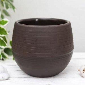 Горшок для цветов Петропласт «Япония», 3 л, цвет тёмно-коричневый