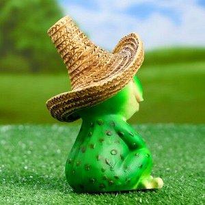"""Садовая фигура """"Лягушка в соломенной шляпе"""" 11х12х16,5см"""