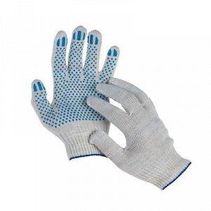 Перчатки, х/б, вязка 10 класс, 6 нитей, размер 9, с ПВХ точками, белые