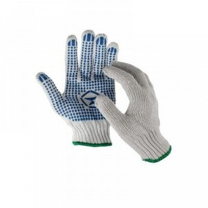Перчатки, х/б, вязка 7 класс, 7 нитей, размер 9, с ПВХ точками, белые