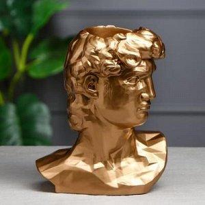 """Органайзер-кашпо """"Голова Давида"""", золотистый, 26 см"""