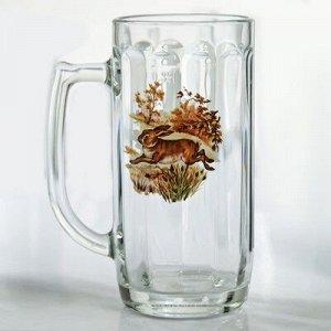 Кружка для пива «Охота-рыбалка», 330 мл, рисунок МИКС