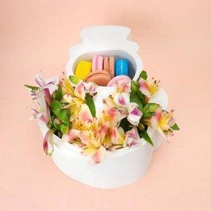 """Пенобокс кашпо для цветов и подарков """"Снеговик"""", белый"""