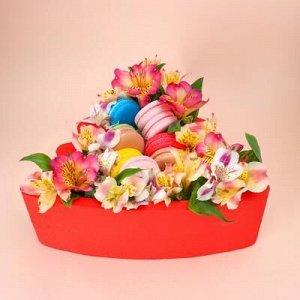 """Пенобокс 27?26?10 см кашпо для цветов и подарков """"Ёлочка"""", красный"""