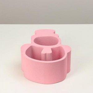 """Пенобокс кашпо для цветов и подарков """"Снеговик"""", розовый"""