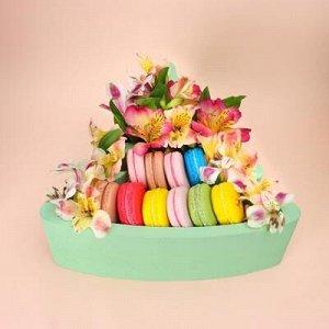 """Пенобокс 27?26?10 см кашпо для цветов и подарков """"Ёлочка"""", зелёный"""