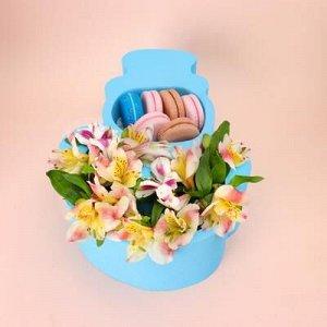 """Пенобокс кашпо для цветов и подарков """"Снеговик"""", голубой"""