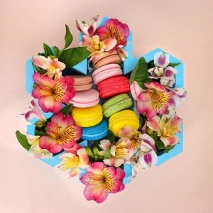 """Пенобокс кашпо для цветов и подарков """"Цветок шестилистный"""", голубой"""