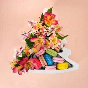 """Пенобокс 27?26?10 см кашпо для цветов и подарков """"Ёлочка"""", белый"""