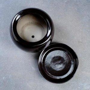 Горшок цветочный Адель 3, 1,2 л, чёрный