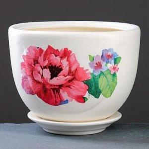 Горшок цветочный Жемчужина №3 декупаж, 2 л