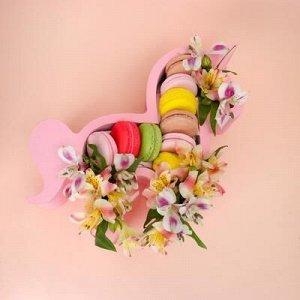 """Пенобокс кашпо для цветов и подарков """"Единорог, пони"""", розовый"""