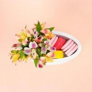 """Пенобокс 20?10?10 см кашпо для цветов и подарков """"Овал"""", белый"""