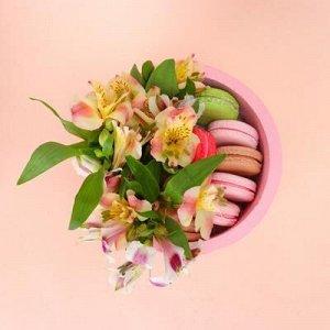"""Пенобокс 16?16?10 см кашпо для цветов и подарков """"Круг"""", розовый"""