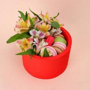 """Пенобокс 16?16?10 см кашпо для цветов и подарков """"Круг"""", красный"""