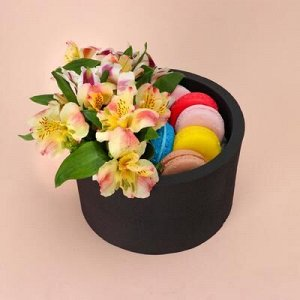 """Пенобокс 16?16?10 см кашпо для цветов и подарков """"Круг"""", чёрный"""