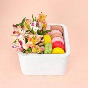 """Пенобокс 16?16?10 см кашпо для цветов и подарков """"Квадрат"""", белый"""
