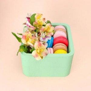 """Пенобокс 16?16?10 см кашпо для цветов и подарков """"Квадрат"""", зелёный"""