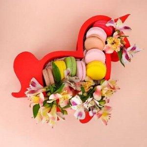 """Пенобокс кашпо для цветов и подарков """"Единорог, пони"""", красный"""