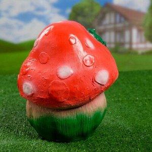 "Садовая фигура ""Гри с лягушкой"" круглая шляпка 20х23х25см"