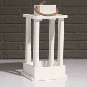 """Кашпо деревянное """"Фонарь"""", ручка верёвка, белый, 16?16?30 см"""
