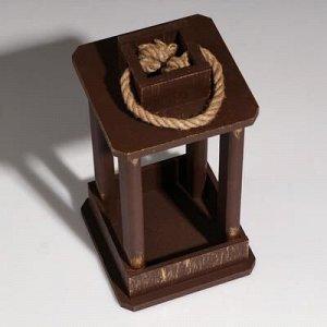 """Кашпо деревянное """"Фонарь"""", ручка верёвка, золотой винтаж, 16?16?30 см"""