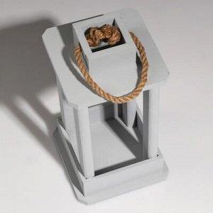 """Кашпо деревянное """"Фонарь"""", ручка верёвка, серый, 16?16?30 см"""