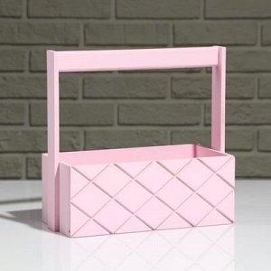 """Кашпо деревянное """"Эллада большая, сетка"""", с ручкой, розовый, 25?12,5?10(25) см"""