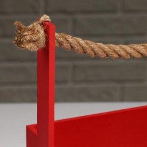 """Кашпо деревянное """"Эллада большая"""", ручка верёвка, красный, 25?12,5?10(23) см"""