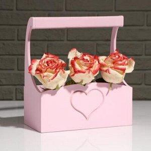 """Кашпо деревянное """"Symmetric Heart, сердце"""", с ручкой, розовый, 25?12,5?10(28) см"""