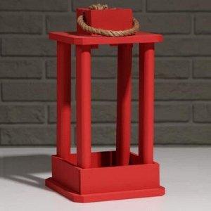 """Кашпо деревянное """"Фонарь"""", ручка верёвка, красный, 16?16?30 см"""