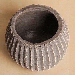 """Кашпо керамическое """"Шар"""" коричневое 13*13*10 см"""
