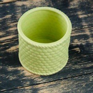 """Кашпо керамическое """"Корзина зеленая"""" круглое 10*10*9 см"""