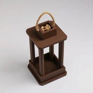 """Кашпо деревянное """"Фонарь"""", ручка верёвка, коричневый, 16?16?30 см"""