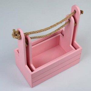 """Набор кашпо деревянных 2 в 1 (25?15?30; 21?12?23 см) """"Dear"""", ручка канат, розовый"""