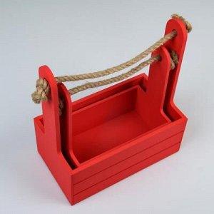 """Набор кашпо деревянных 2 в 1 (25?15?30; 21?12?23 см) """"Dear"""", ручка канат, красный"""