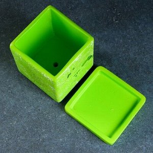 """Горшок цветочный """"Кубик"""" зелёный, 1 л"""