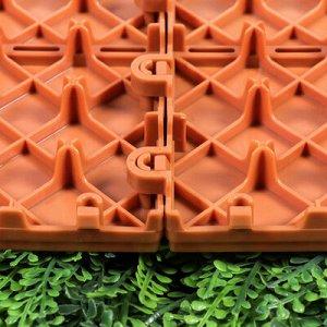 Модульное покрытие, 30 ? 30 см, пластик, терракотовая, 1 шт
