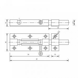 Задвижка дверная ЗД 005, 75 мм, оцинкованная