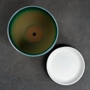 Горшок цветочный Абстракция зеленая 1,65 л