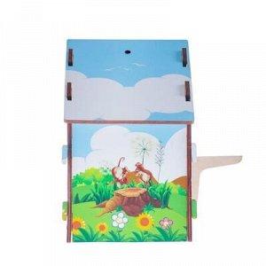 """Скворечник деревянный """"Белочка и зайчик"""", с цветным рисунком, 19.5?13?19 см"""