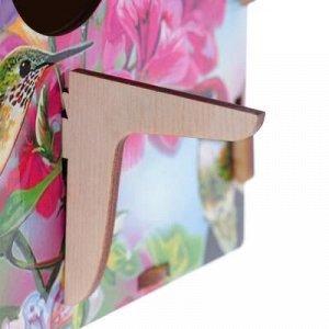 """Скворечник деревянный """"Колибри среди цветов"""", с цветным рисунком, 19.5?13?19 см"""