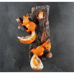 """Подвесной декор """"Навесные Белки поилки на дереве"""" 33*17*60 см"""
