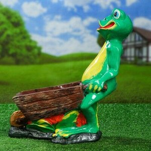 """Садовая фигура """"Лягушка с телегой"""", разноцветный, 44 см"""