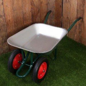 Тачка садово-строительная, двухколёсная: груз/п 200 кг, объём 65 л, пневмоколесо 3.00-8, кузов 0,6 мм, разборная рама