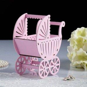 "Кашпо ""Коляска"", фанера, розовая, 14,5х8,5х18,5 см"