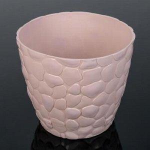 Кашпо с поддоном «Камни», 1,4 л, d=15 см, цвет чайная роза