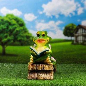 "Садовая фигура ""Две лягушки с книжками на лавке"""
