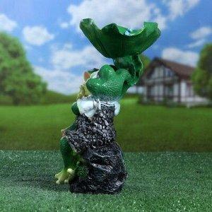 """Садовая фигура """"Лягушки на камне-поилка"""" 29х17cм"""