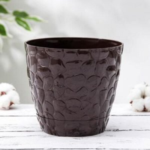 Кашпо с поддоном №1 «Камешки», 1,6 л, цвет шоколадный